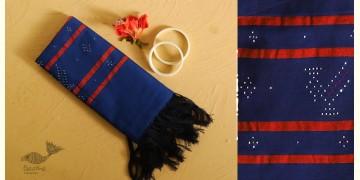 Gulmohar . गुलमोहर ⁂ Tangaliya Cotton Stole ⁂ Blue (M) 7