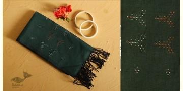 Gulmohar . गुलमोहर ⁂ Tangaliya Cotton Stole ⁂ Dark Green (S) 4