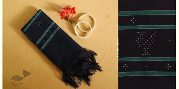 Gulmohar . गुलमोहर ⁂ Tangaliya Cotton Stole ⁂ Navy Blue (M) 8