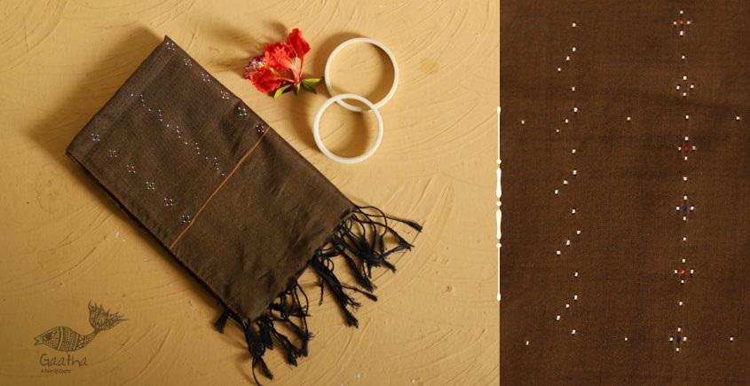 गुलमोहर ⁂ Tangaliya ⁂ Cotton Stole ⁂ Dark Brown