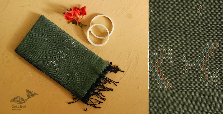 गुलमोहर ⁂ Tangaliya ⁂ Cotton Stole ⁂ Light Green