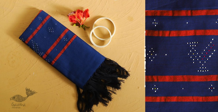 गुलमोहर ⁂ Tangaliya ⁂ Cotton Stole ⁂ Dark Blue