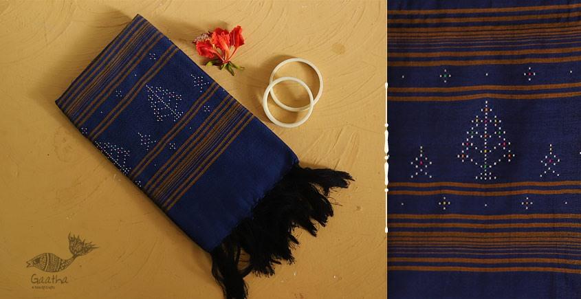गुलमोहर ⁂ Tangaliya ⁂ Cotton Stole ⁂ Blue - (B)
