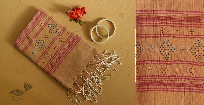 गुलमोहर ⁂ Tangaliya ⁂ Cotton Stole ⁂ Light Orange