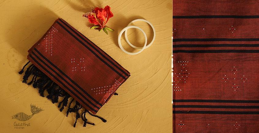 गुलमोहर ⁂ Tangaliya ⁂ Cotton Stole ⁂ Brown (M)