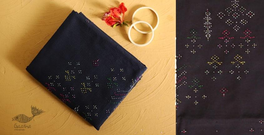 गुलमोहर ⁂ Tangaliya ⁂ Cotton Dress Material ⁂ Navy blue