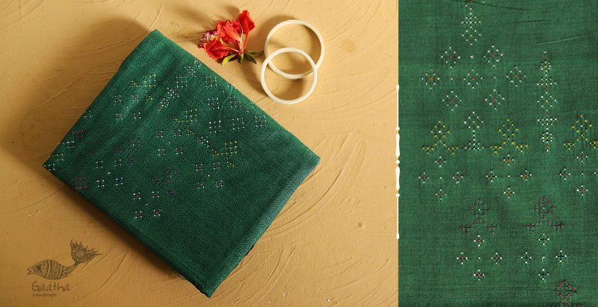 Tangaliya cotton Dress Material - Dark Green