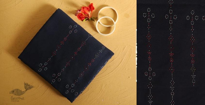 Tangaliya cotton Dress Material - Navy Blue (DM)