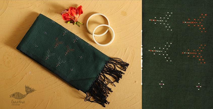 गुलमोहर ⁂ Tangaliya ⁂ Cotton Stole ⁂ Dark Green