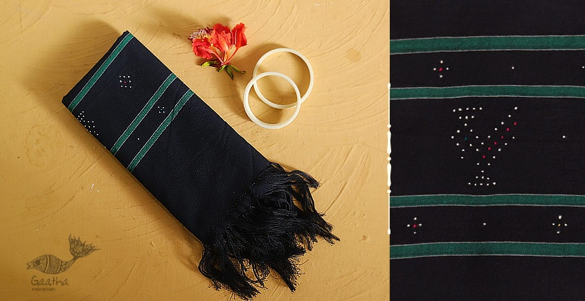 गुलमोहर ⁂ Tangaliya ⁂ Cotton Stole ⁂ Navy Blue