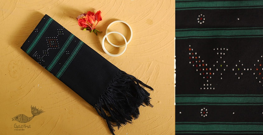 गुलमोहर ⁂ Tangaliya ⁂ Cotton Stole ⁂ Black (M)