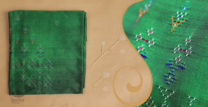 Tangaliya ~ Dress material Green