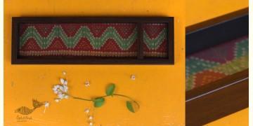 """Joyance ⚙ Patola Wooden Maroon Tray ~ B { 4"""" X 12.5"""" }"""