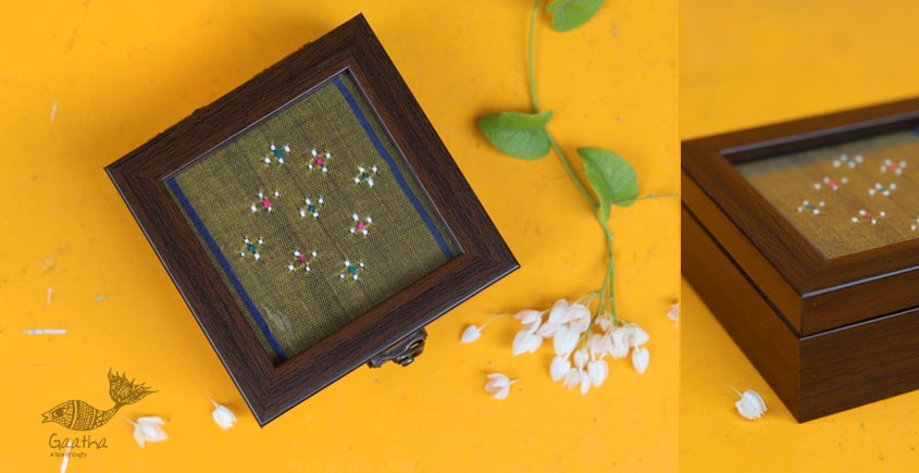 Shop online Traditional  Tangaliya Weaving Green Wooden Box