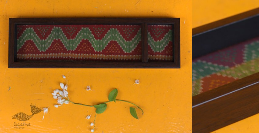 Joyance ⚙ Patola Wooden Maroon Tray ~ B { 4 X 12.5 }