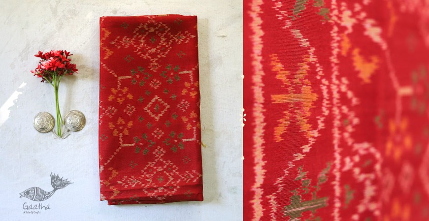 shop online new collection of red silk patola stole -