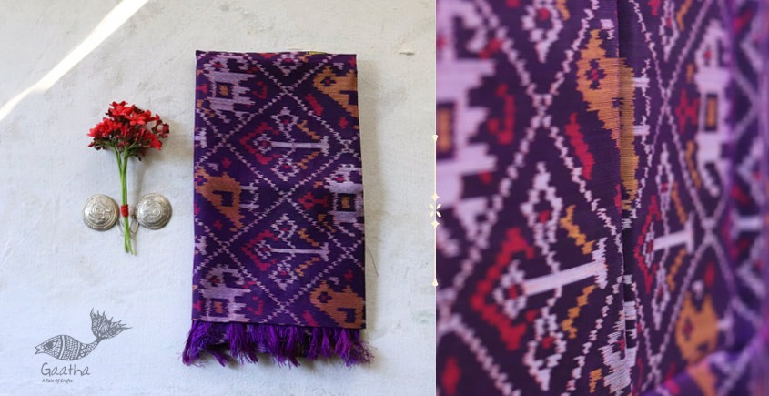 shop online new collection of violet silk patola stole -