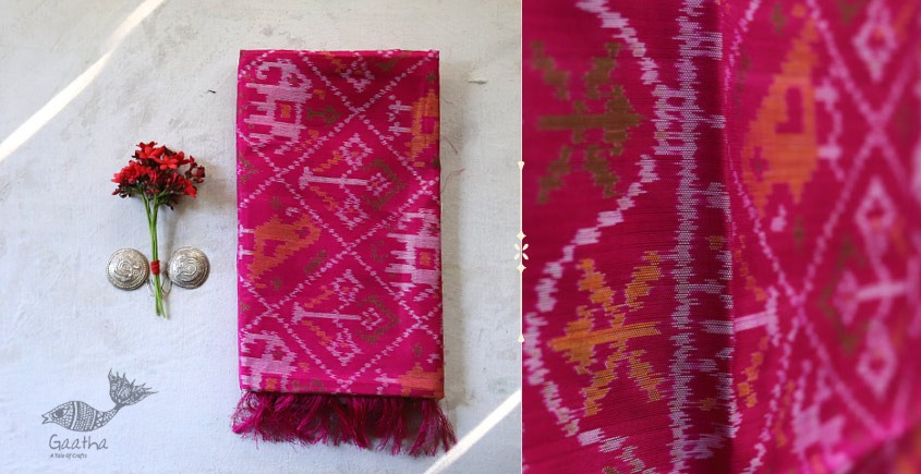 shop online new collection of silk patola stole - Hathi popat motif