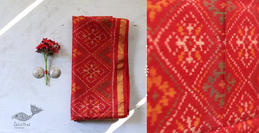 shop online new collection of silk patola stole - Pure Red