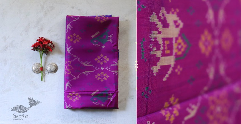 shop online new collection of silk patola Dupatta- Purple & pink