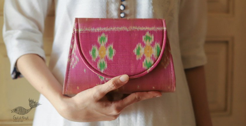 shop online ikat style patola silk hand bag