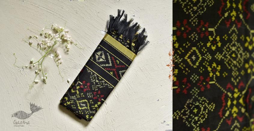 shop pure silk patola dupatta in black color