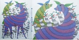 Nandan . नंदन ❁ Canvas Gond Painting (2x3 Feet) ❁ 11
