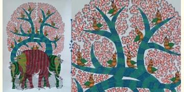 Nandan . नंदन ❁ Canvas Gond Painting (2x3 Feet) ❁ 13