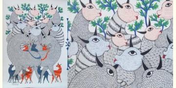 Nandan . नंदन ❁ Canvas Gond Painting (2x3 Feet) ❁ 3
