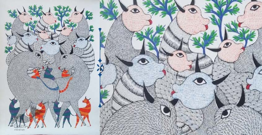 Shop online hand painted canvas gond painting