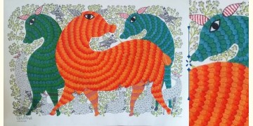 Nandan . नंदन ❁ Canvas Gond Painting (2x3 Feet) ❁ 4