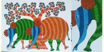 Nandan . नंदन ❁ Canvas Gond Painting (2x3 Feet) ❁ 5