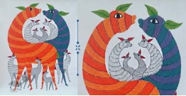 Nandan . नंदन ❁ Canvas Gond Painting (2x3 Feet) ❁ 9