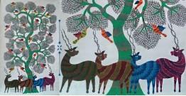 Nandan . नंदन ❁ Canvas Gond Painting (3x5 Feet) ❁ 14