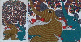 Nandan . नंदन ❁ Canvas Gond Painting (3x5 Feet) ❁ 15