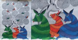 "Nandan . नंदन ❁ Canvas Gond Painting (28"" x 18"") ❁ 18"