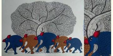 "Nandan . नंदन ❁ Gond Painting (23"" x 15"") ❁ 31"
