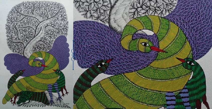 Shop online hand painted on Paper gond painting