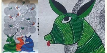 "Nandan . नंदन ❁ Canvas Gond Painting (18"" x 29"") ❁ 45"