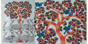 "Nandan . नंदन ❁ Canvas Gond Painting (24"" x 36"") ❁ 33"