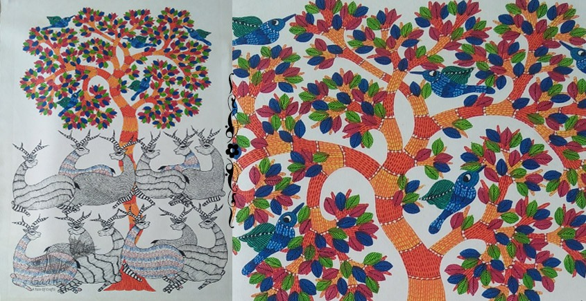 Shop online hand painted on canvas gond painting