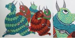 "Nandan . नंदन ❁ Gond Painting (10"" x 14"") ❁ 40"
