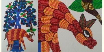 "Nandan . नंदन ❁ Gond Painting (10"" x 14"") ❁ 44"
