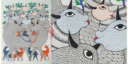 "Nandan . नंदन ❁ Canvas Gond Painting (24"" x 36"") ❁ 47"