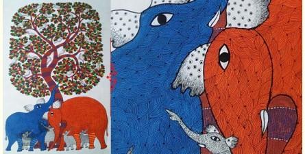 "Nandan . नंदन ❁ Canvas Gond Painting (72"" x 36"") ❁ 49"