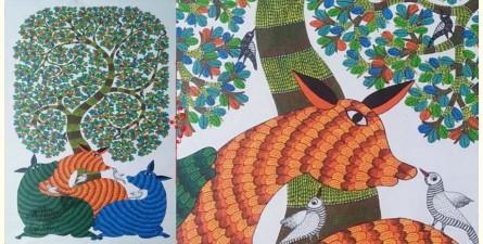 "Nandan . नंदन ❁ Gond Painting on Canvas (72"" x 36"") ❁ 48"