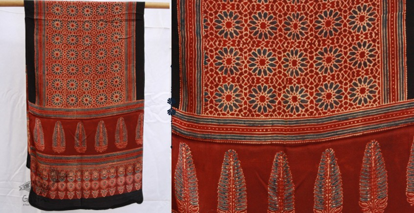 buy online ajrakh modal silk stole- royal red