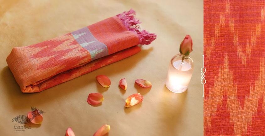 Peach Pink  Handloom Cotton Linen Ikat Dupatta