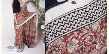 Indigenous Impressions ★ Hand Block ★ Bagru-Kalamkari Cotton Linen Saree ★ 1