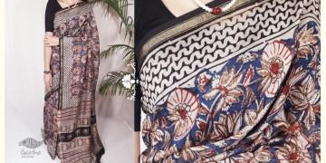 Indigenous Impressions ★ Hand Block ★ Kalamkari Print Chanderi Silk Saree  ★ 11